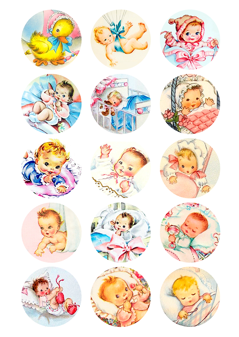 CÍRCULOS DE 5 CM | Baby Vintage | Modelo 3
