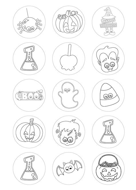 CÍRCULOS DE 5 CM   Desenhos para colorir   Halloween   Modelo 1