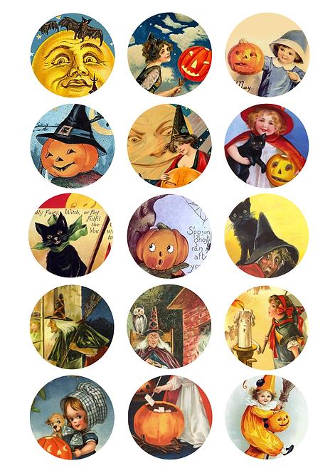 CÍRCULOS DE 5 CM | Halloween Vintage | Modelo 2