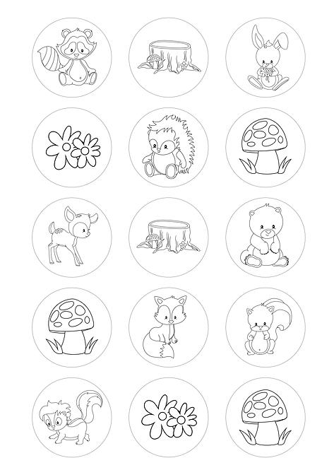 CÍRCULOS DE 5 CM | Desenhos para colorir | Animais da Floresta