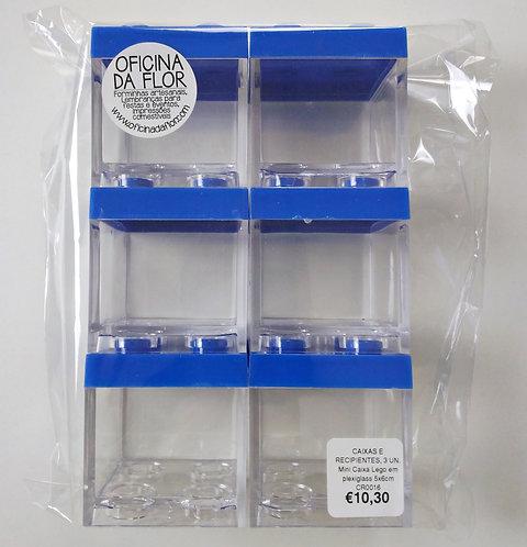 6 X MINI CAIXA LEGO EM PLEXIGLASS | 5X6CM | AZUL ESCURO