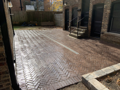 Herringbone Paver Patio with French Drain System, Evanston IL