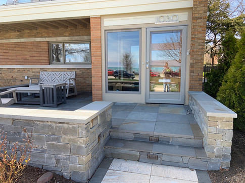 Front Yard Bluestone Paver Patio with Stone Wall, Evanston IL