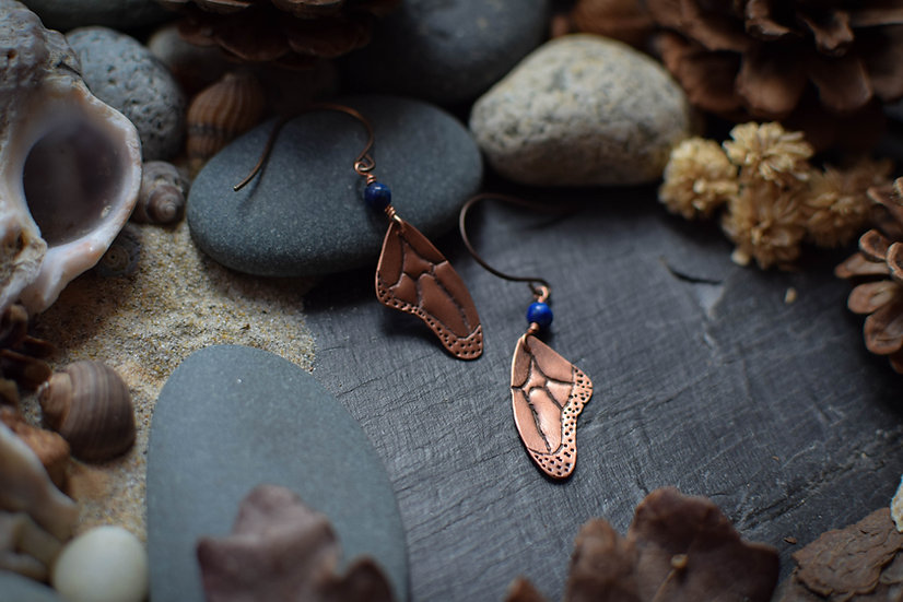 Boucles d'Oreilles ~Papillon~ Cuivre & Lapis Lazuli