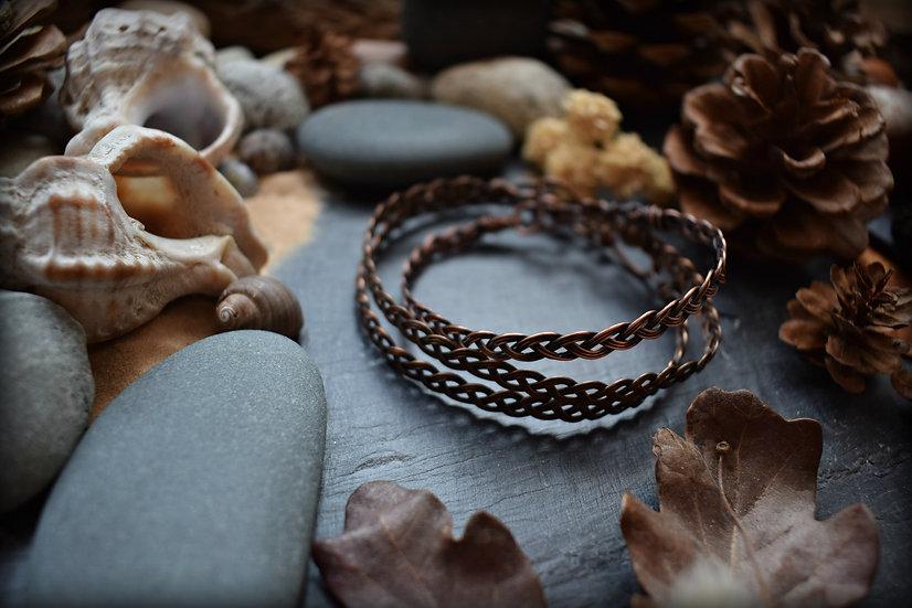 Bracelet artisanal ~Mithrandir~ en Fils de Cuivre brut patiné à l'Atelier