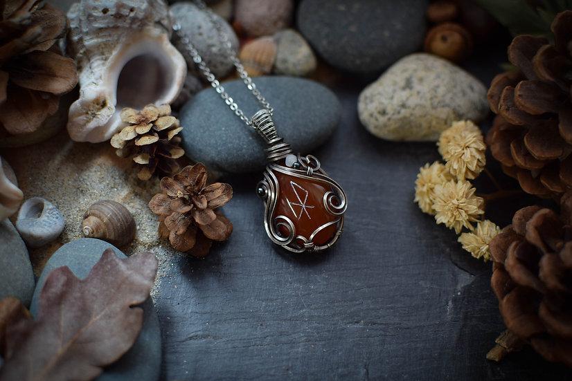 Talisman runique ~Elska~ Jaspe Rouge &  Silver Filled
