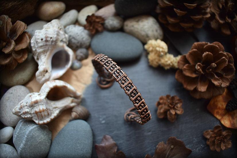Bracelet ~La Tisseuse~ Fils de Cuivre Patiné Tissé à la main