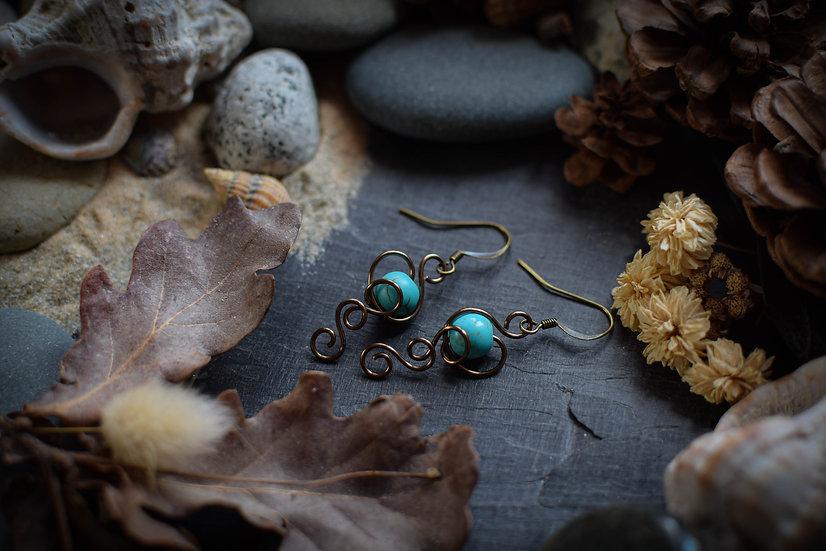 Boucles d'Oreilles ~Elfiques~ Howlite turquoise