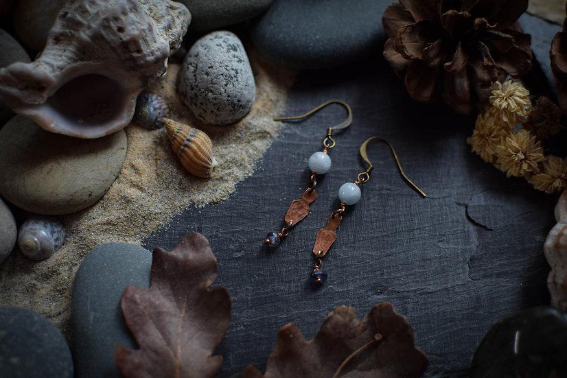 Boucles d'Oreilles ~Fioles d'Estus Cendreux~ Cuivre & aigue-marine