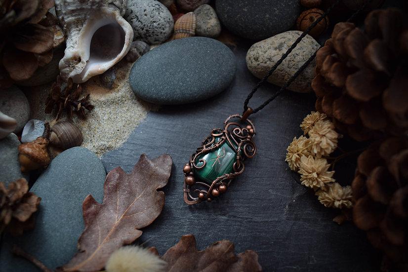 Talisman runique ~Elska~ Malachite & Cuivre Patiné