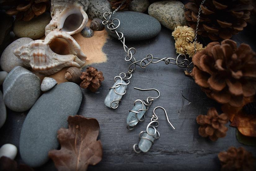 Parure ~Écume~ Aigue-marine & Silver Filled