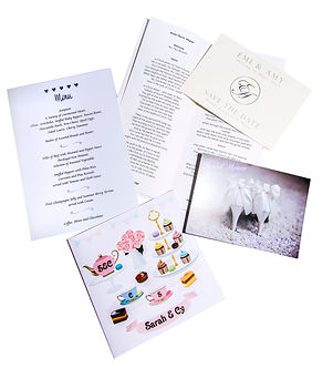 Wedding stationery created and printed by C J Lewis Printers