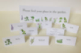 Personalised place cards created and printed by C J Lewis Printers