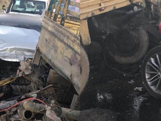 Tres heridos por choque entre camión y jeepeta en carretera Baní-Azua