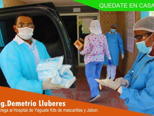 Demetrio LLuberes entrega mascarillas y jabón en hospital de Yaguate