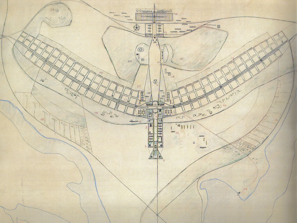 Architect Lucio Costa's original drawing for Brasilia's urban plan, 1957.