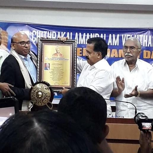 Receiving Veluthampy National Award from Sri.Ramesh Chennithala