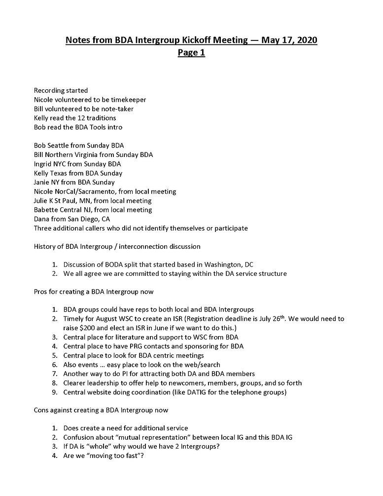 2020_05_17 - Notes from BDA Intergroup K