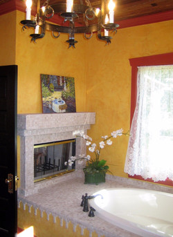 Master Bathroom with Fireplace After