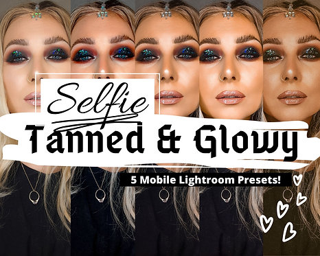 5 Lightroom MOBILE Presets, Tanned Glowy SELFIE Portrait Presets