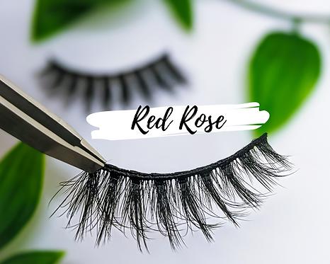 Eco Friendly cotton FALSE LASHES no plastic REUSABLE (15+ wears) - RED ROSE