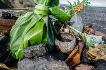 Offering to Pele, the Hawaiian goddess of volcanoes and fire