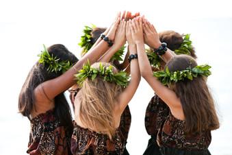Young hula kahiko dancers