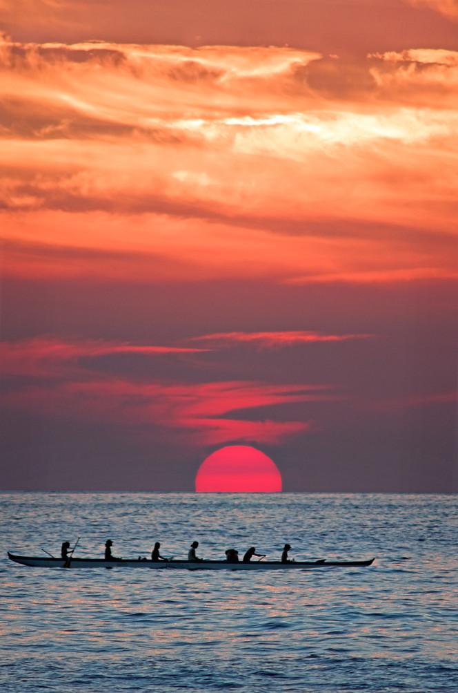 Hawaiian canoe at sunset