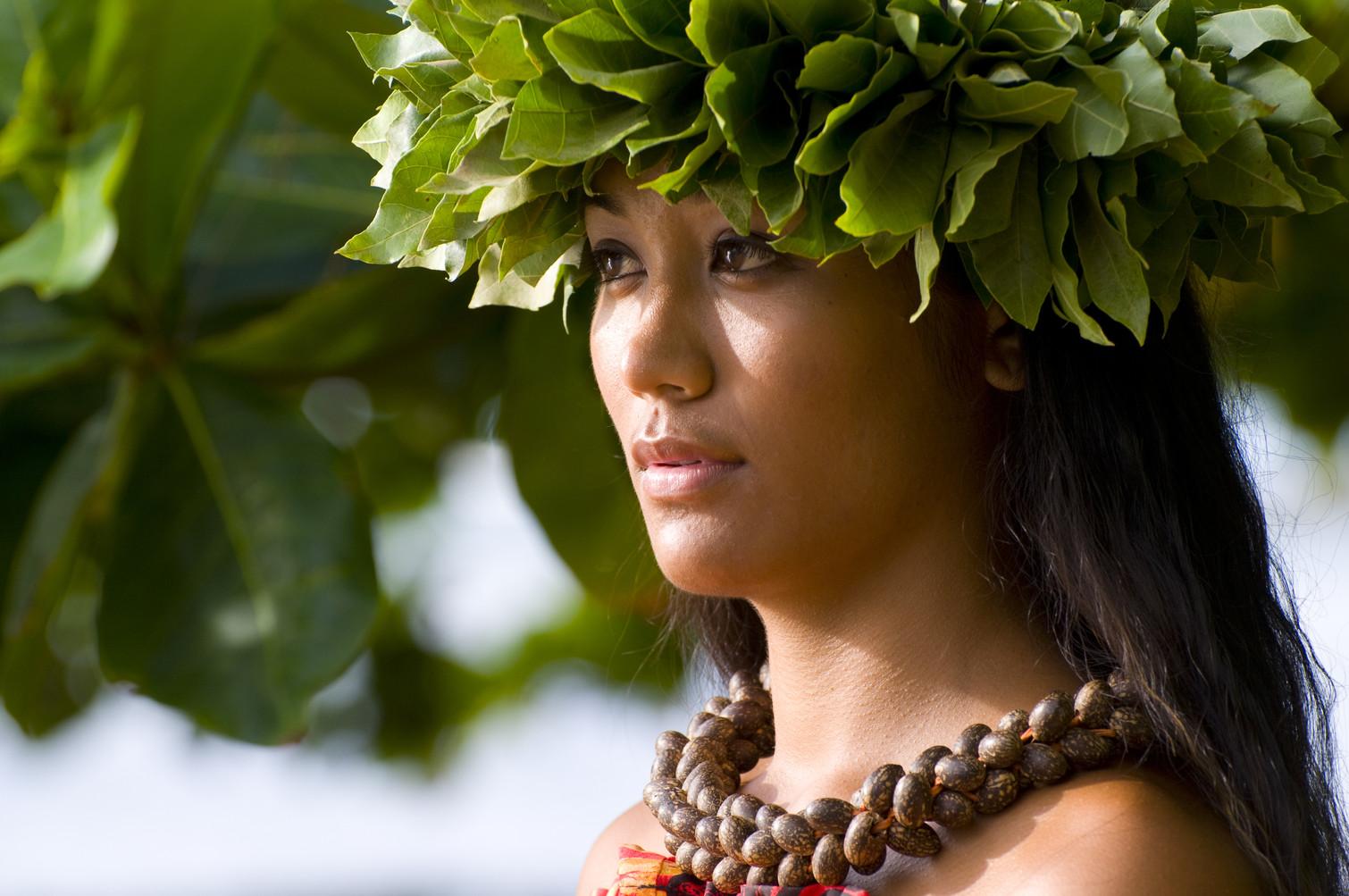 Hawaiian teenager in traditional attire