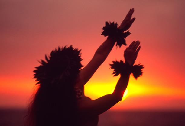 Traditional hula kahiko dancer