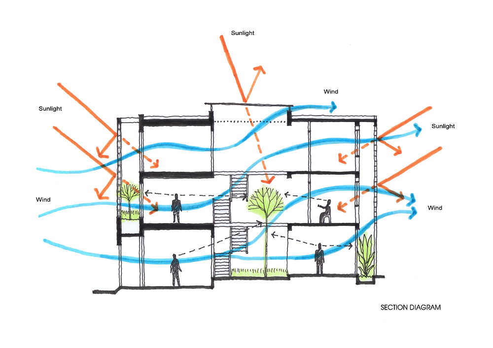 The image above shows a home with a courtyard as well as a double facade with planting to reduce heat gain and further cool the home.