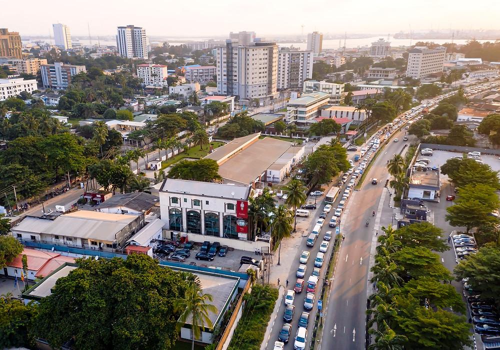 Aerial view of Victoria Island, Lagos.