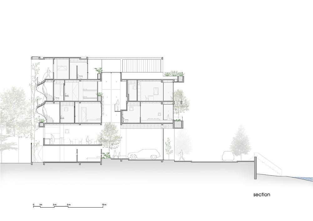 Coastal House Section by Prana Architects