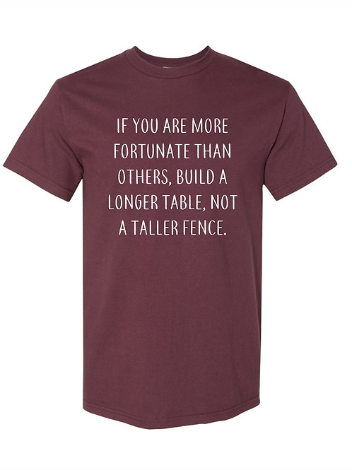 Longer Table, Not a Taller Fence [maroon]