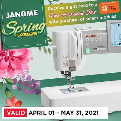 janome sale April 1-May 31 2021 or while