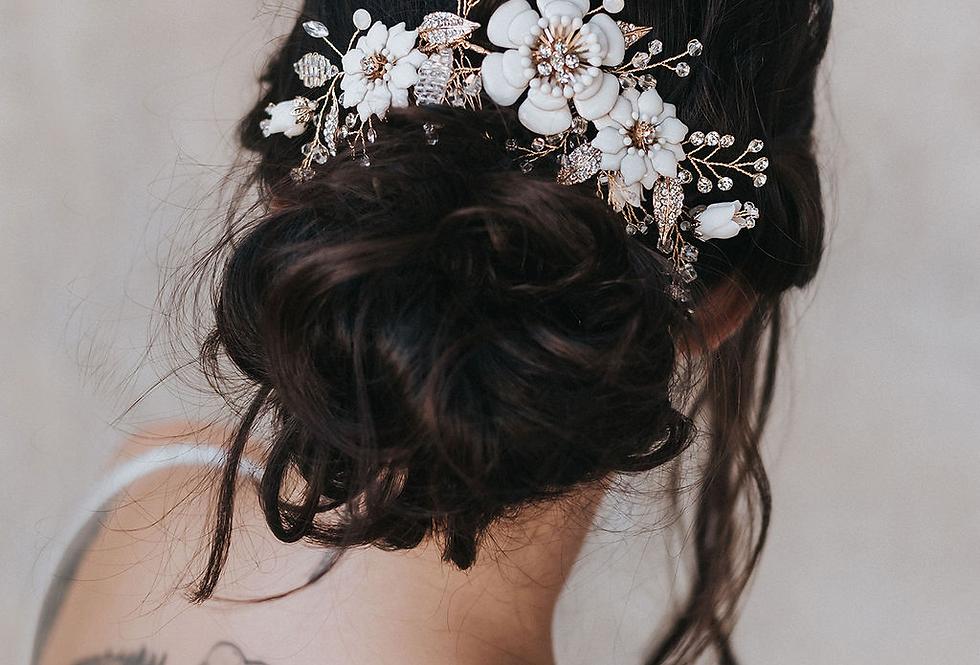 """""""Grace"""" Bridal Hair Comb Vine ~ Gold"""