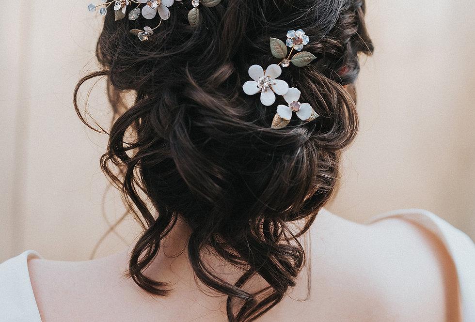 """""""Francesca"""" Flower Comb & Pin Set"""