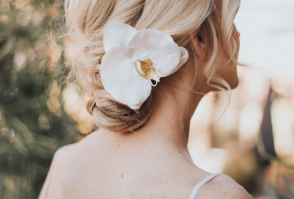 """Carley"" Orchid Bridal Hair Flower"
