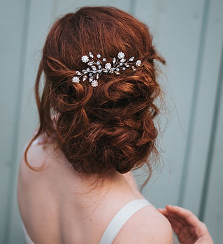 Delilah Small Flower Beaded Hair Comb-mi