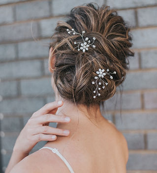 Camille Flower Beaded Bridal Hair Pins 2