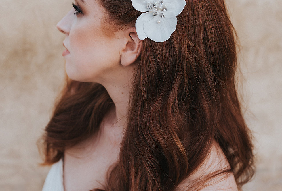 """Lahaina"" Beaded Orchid Hair Flower"