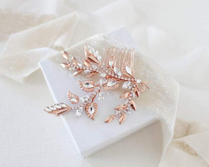 ROSE GOLD FLORAL HAIR COMB WITH SWAROVSK