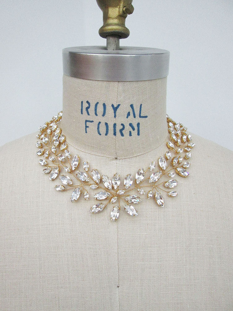 BRIDAL SWAROVSKI CRYSTAL NECKLACE IN GOL