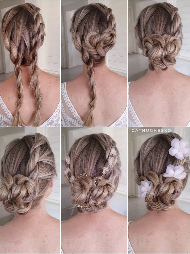 Twisted Low Bridal Bun Hairstyle
