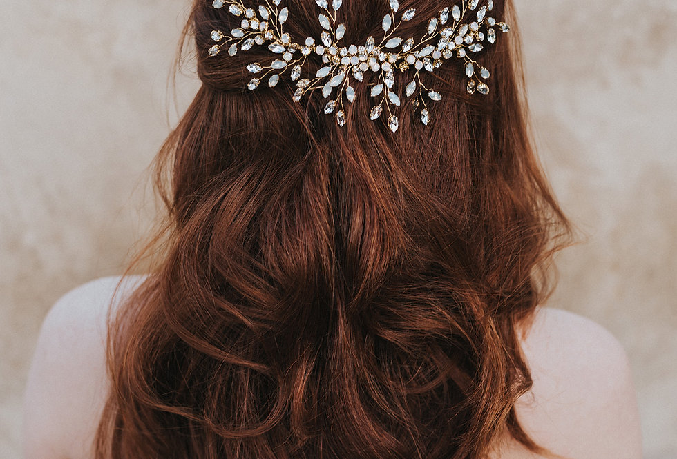 """Natalia"" Large Beaded Hair Comb"