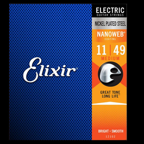 Elixir Strings 12102 Nanoweb Electric Guitar Strings -.011-.049 Medium