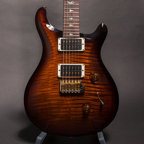 2018 PRS Custom 24 Flame Maple 10 Top, Pattern Thin Maple Neck, Black Gold Burst