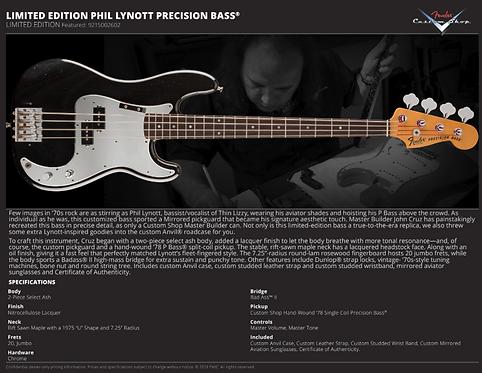 Fender Limited Phil Lynott Precision Bass Masterbuilt by John Cruz PRE-ORDER