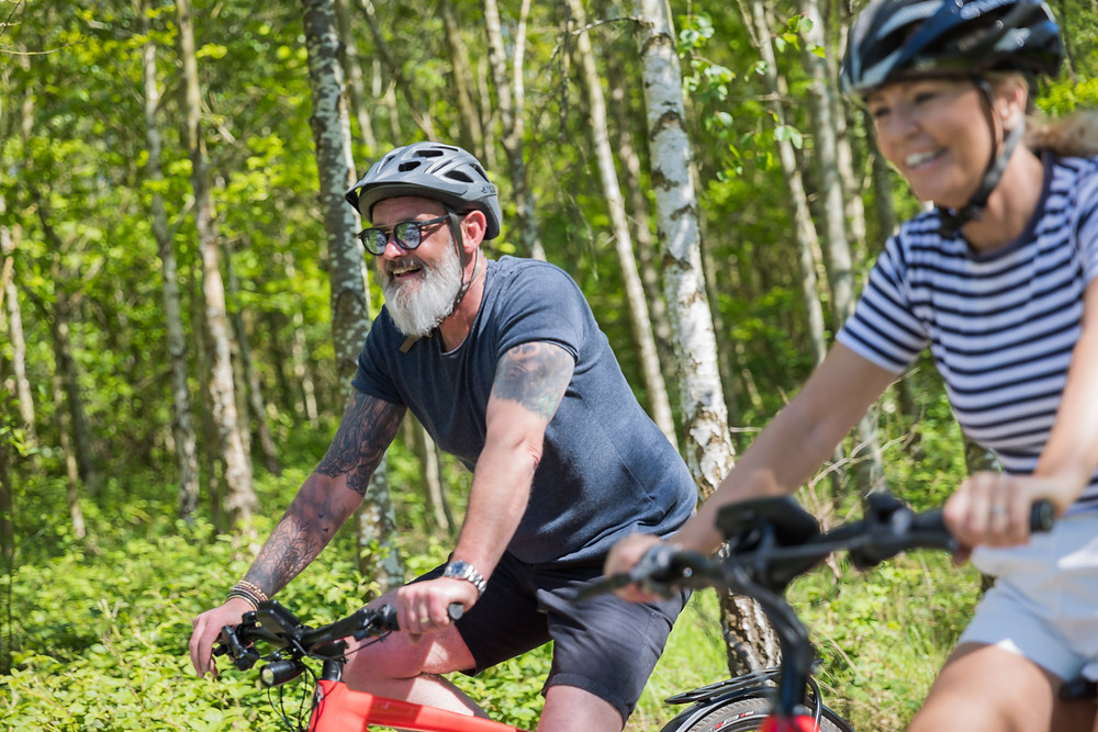 Guests are enjoying cycling through the peaceful woodland of the National Forest