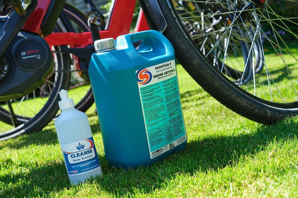 professional cleaning products used to clean the electric bikes on our cycling holidays.